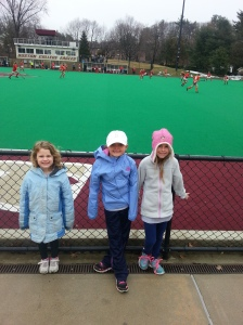 CCYFH girls at BC watching the spring field hockey tournament
